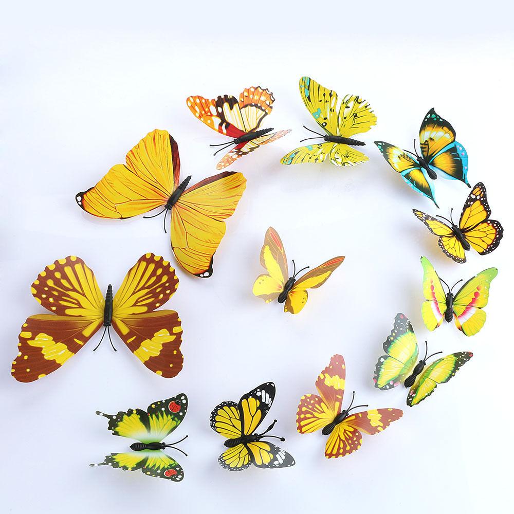 12pcs Art Decal Home Room Wall Stickers 3D Butterfly Sticker ...