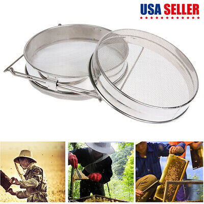 1pc Stainless Steel Beekeeping Double Honey Sieve Strainer Filter Apiary Tool Us