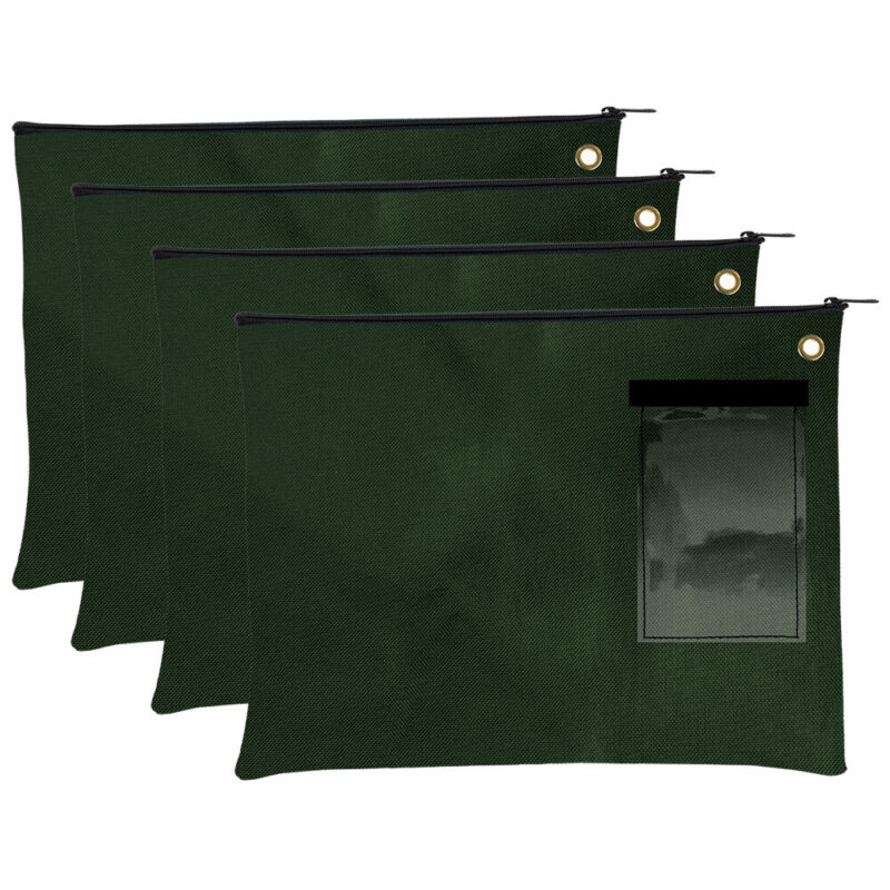 Large Transit Bags - Document Carrier - Forest Green Zipper Pouch - Set of 4