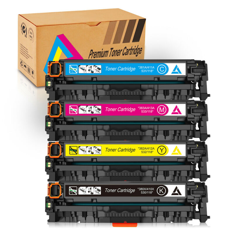 4 PACK CE410A-CE413A 305A Toner For HP LaserJet M351a M375nw M451 M451dn M451nw