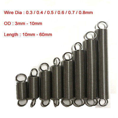 10pcs 304 Stainless Steel Expansion Extension Tension Spring Wire Dia 0.3-0.8mm