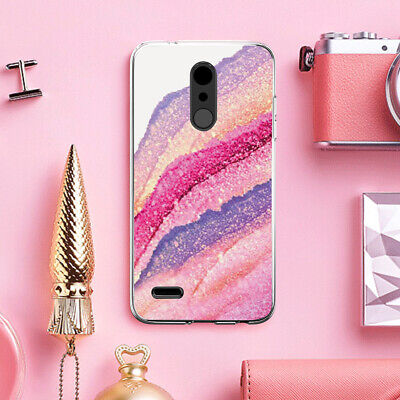For LG K30/Premier Pro Colorful Marble TPU Phone Case Cover+Black Tempered Glass Color Cell Phone Cover Case