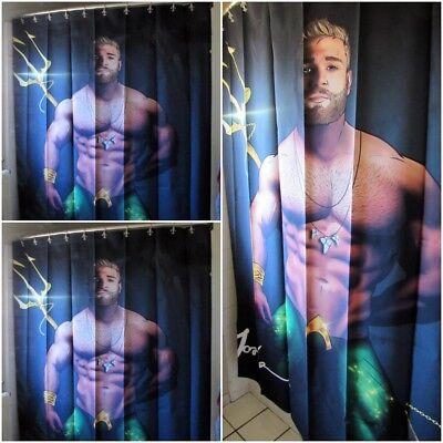 Licensed Jorden Arts AQUAMAN Shower Curtain Superhero Gay Butch - Superhero Shower Curtain
