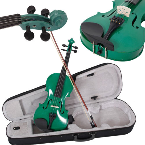 New Acoustic Violin 4/4 Full Size with Case and Bow Rosin Green