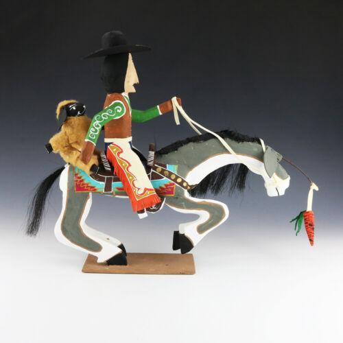 NATIVE AMERICAN NAVAJO FOLK ART COWBOY & SHEEP RIDING A HORSE BY DELBERT BUCK K