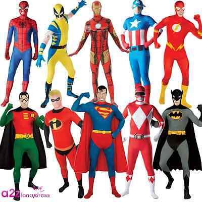 New Adult 2nd Skin Superhero Marvel DC Full Bodysuit Fancy Dress Costume Outfit