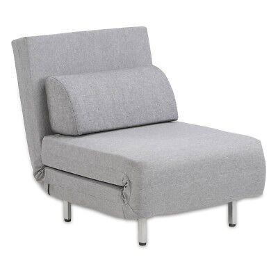 Kunststoff Grau Klappsessel (Schlafsessel Klappbett Gästebett Bettsessel Entspannungssessel klappbar Grau)