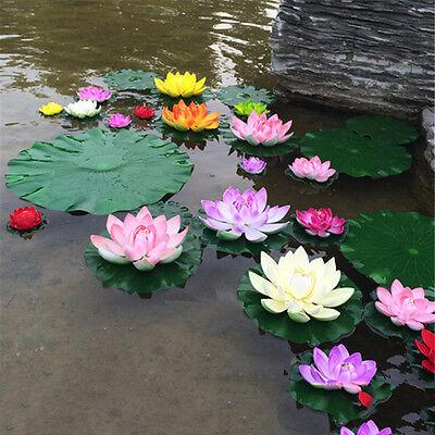 Künstliche Lotus Seerose schwimmende Blume Teich Tank Pflanze Ornament Dekor.