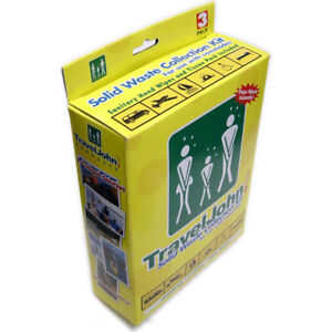 TravelJohn Travel John Disposable Solid Waste Bags Emergency Toilet Unisex 3 Pk