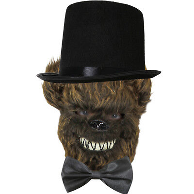 SCARY BROWN BEAR MASK, TIE AND TOP HAT SET HALLOWEEN VIDEO GAME CHARACTER