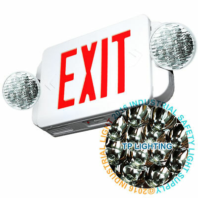 Led Exit Sign Emergency Light High Output - Red Compact Combo Ul 924