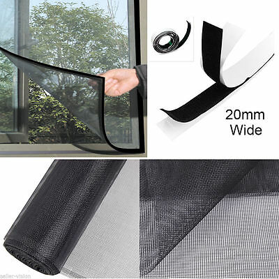 Window Door Screen Fly Insect Mesh Midge Bug Mosquito Net Curtain Caravan Black
