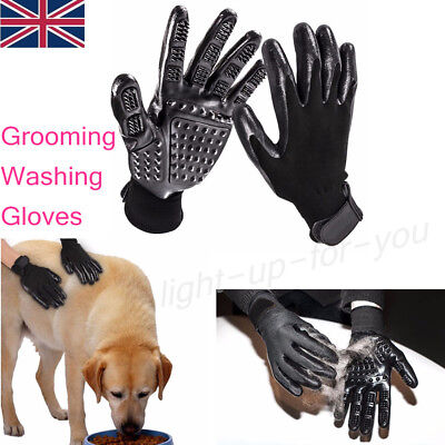 Pet Dog Cat Grooming Gloves Cleaning Removing Hair Brushing Scrubbing Massages