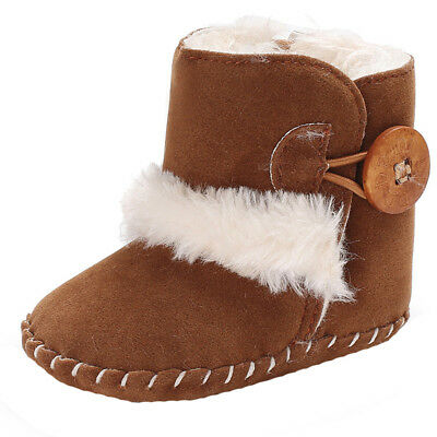 Cute Boy Girls Baby Button Soft Sole Snow Boots Soft Crib Shoes Toddler Boots US