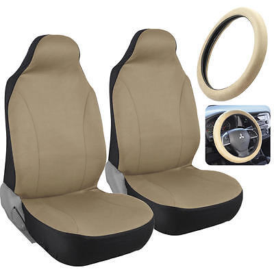 Beige Tan HighBack Bucket Seat Covers for Auto Car SUV w/ Steering Wheel (Tan Bucket Seat Cover)
