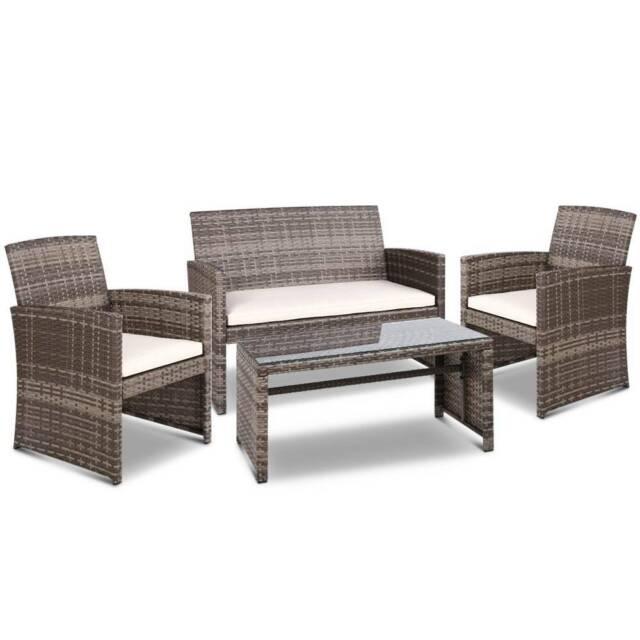 Gardeon Set of 4 Outdoor Rattan Chairs & Table - Grey ...