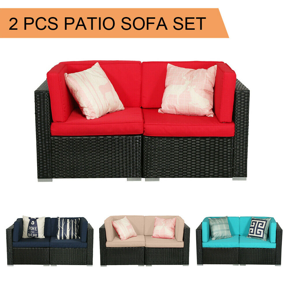 Garden Furniture - 2 PCS Patio Outdoor Wicker Rattan Furniture Garden Sofa Set Cushions Couch Chair