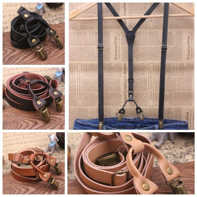 Mens Genuine Leather Adjustable Wedding Party Suspenders Y-back Clip-on Braces