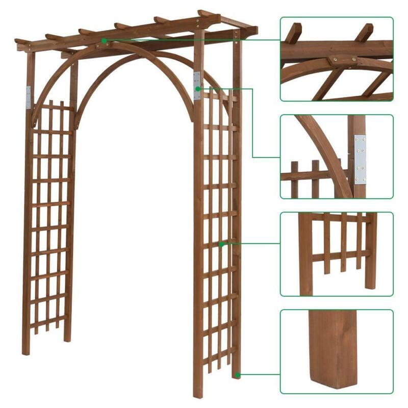 8 FT Wooden Garden Arbor Arches Wedding Party Arch for Climbing Plant