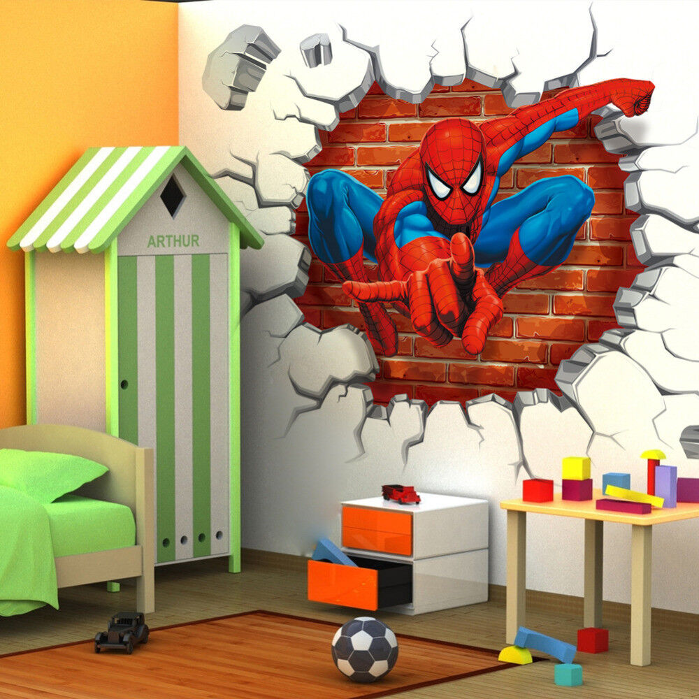 Spiderman Wall Stickers Cartoon Wallpaper 3D Decal Mural Art Decor For Kids Room