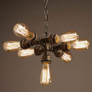 INDUSTRIAL RUST STEAMPUNK FACTORY PIPE PENDANT LIGHT EDISION CEILING LAMP 7 HEAD