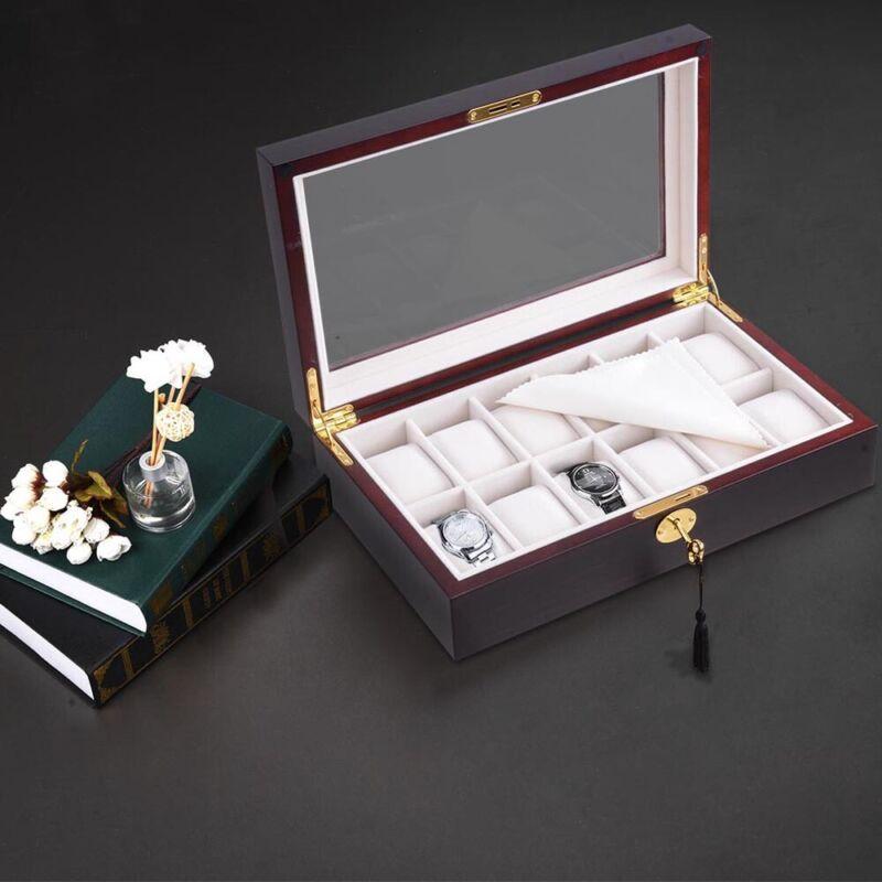6/10/12 Slots Watch Box Display Case Wooden Glass Top Jewelry Storage Organizer