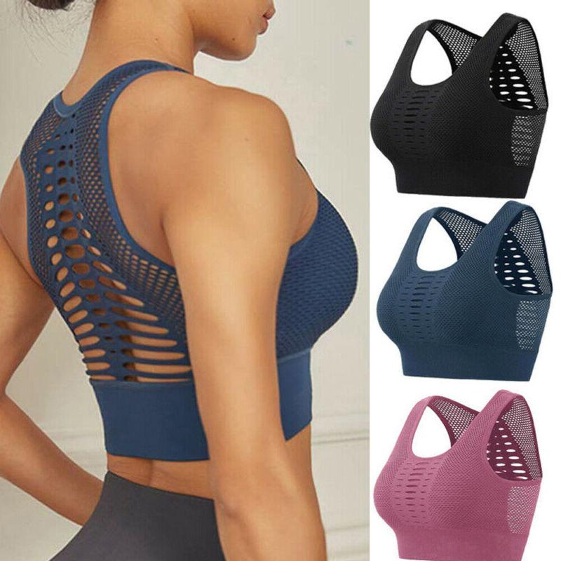US Women Sport Bra Running Gym Yoga Padded Fitness Tops Tank Workout Zipper GW
