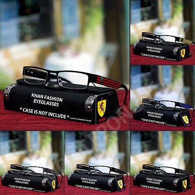 New Mens Womens Trendy Designer Fashion Khan Eyeglasses Clear Lens Black (Trendy Eyeglasses For Men)