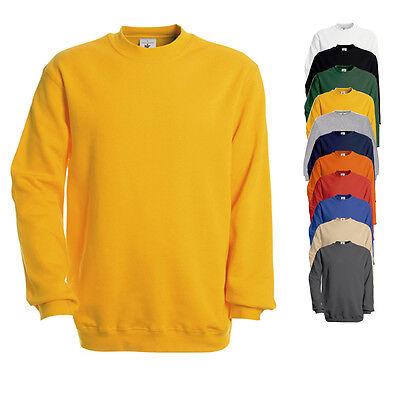 B&C Herren Pullover Sweatshirt SET IN SWEAT Einfarbig S M L XL XXL 3XL Neu WU600