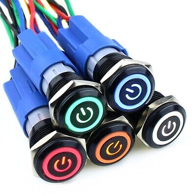 16mm Waterproof Metal Push Button Switch With LED light Self-locking (Illuminated Push Button Switches)