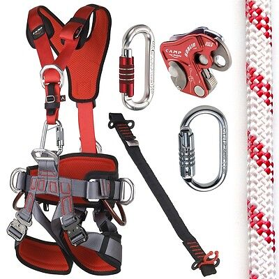 Fall Arrest Rope - CAMP GT ANSI Fullbody Fall Arrest Rope Access Kit with 150ft ANSI Rope SM to LG