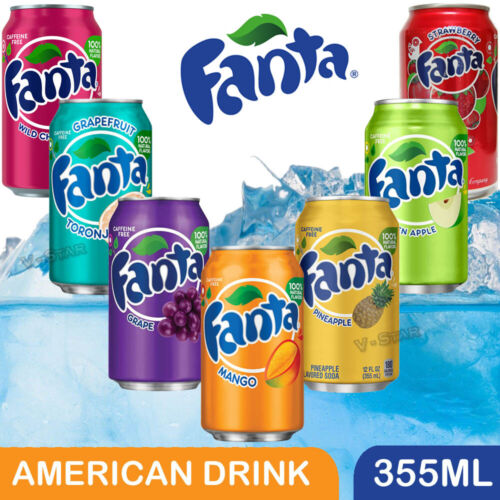 FANTA NATURALLY FLAVORED AMERICAN SOFT SODA DRINK 355ML ( 6, 12 CANS )