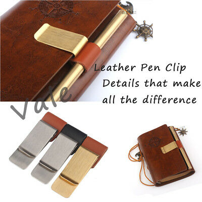 Brief Style Pen Holder Clip with PU Leather Loop Clip for Traveler Book Notebook
