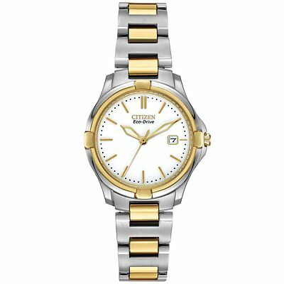 Citizen Eco-Drive Two Tone White Dial Women's Watch EW1964-58A