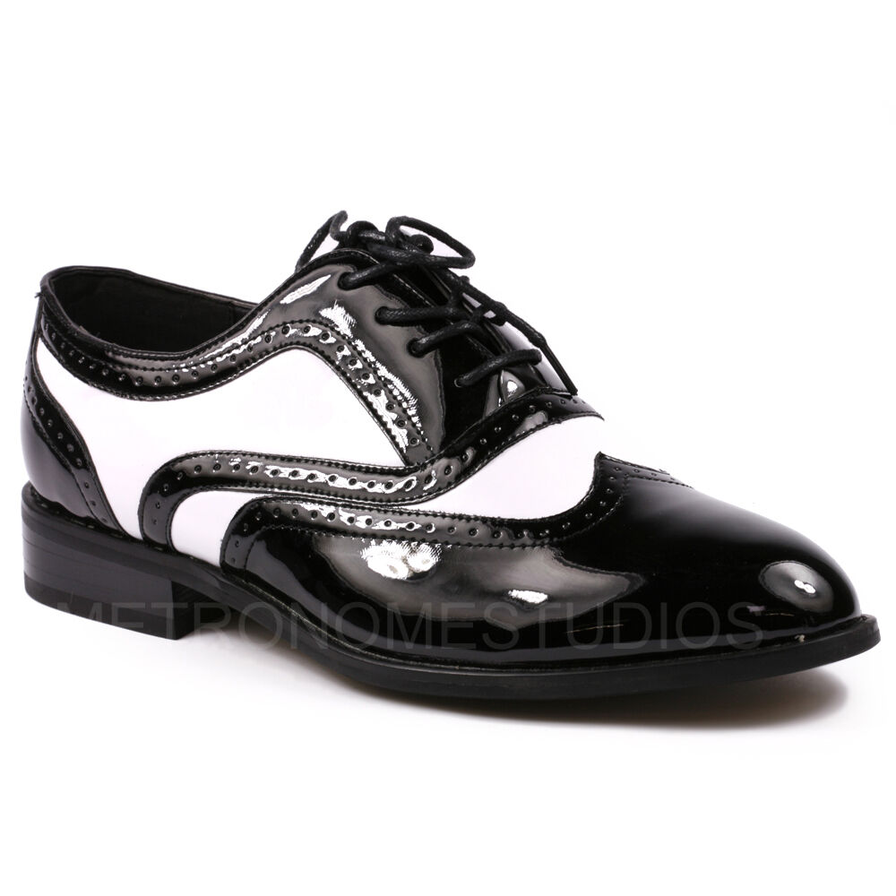 Metrocharm MC121 Men's Black White Tuxedo Wing Tip Lace Up Oxford Dress Shoes