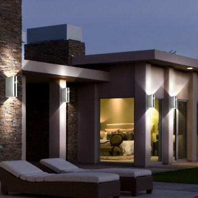 4er Set LED Haus Wand Lampen UP DOWN Strahler Edelstahl Außen Leuchten Glas klar