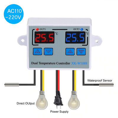 Dual Digital Thermostat Temperature Controller Two Relay Output L1x2