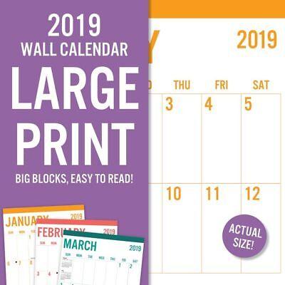 2019 Avalon Large Print-Basic Wall Calendar, Big Grid by Leap Year Publishing LL