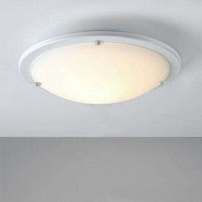 Contemporary Gloss White  Frosted Glass Flush Bathroom Ceiling Light Fitting