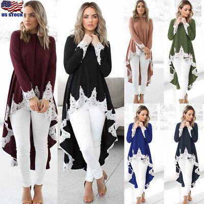 Womens Dressing - US Womens Long Sleeve Irregular Lace Long Shirt Blouse High Low Tunic Tops Dress