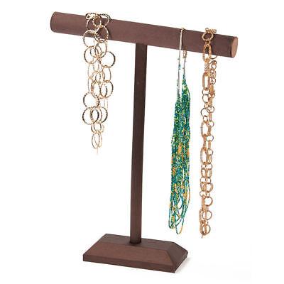 """2 Single Tier T-Bar Necklace Displays Brown Satin Bracelet Jewelry 14"""" x 18"""""""