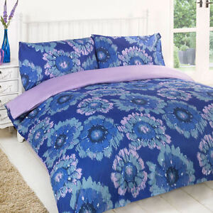 Matmi-Blue-Purple-Lilac-Floral-Soft-Reversible-Duvet-Quilt-Cover-Bedding-Set