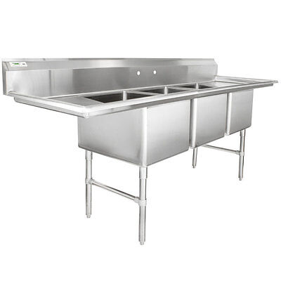 94 Stainless Steel Three Compartment Commercial Pot Sink With 2 Drainboards