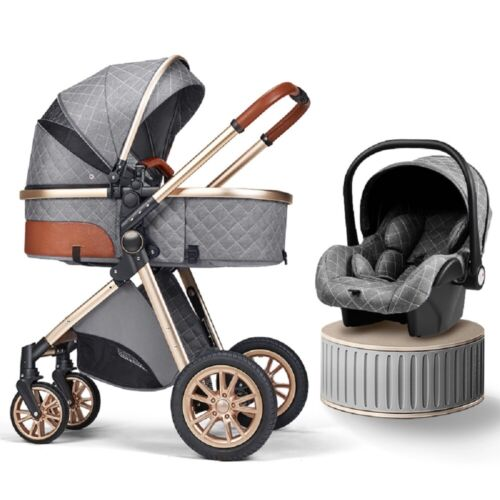 Baby Stroller 3 in 1 Foldable Luxury Newborn Infant Travel System Free Car Seat