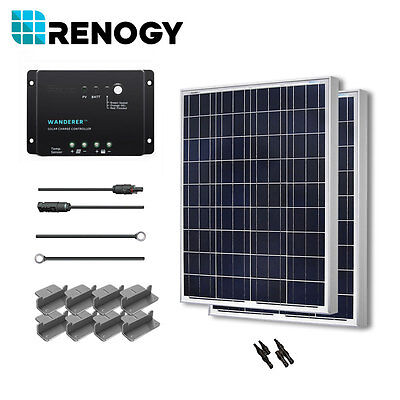 Renogy Solar Panel 200 Watt 2 100W 12V PV Off Grid Kit RV Boat Battery Charger