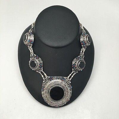 "Vintage Handmade Afghan Turkmen Round Black Carnelian ATS Necklace 22"""
