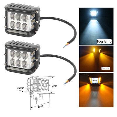 2x 4 Inch LED Work Light Bar Pod White & Amber Strobe Lamp For Boat ATV 4WD 4X4