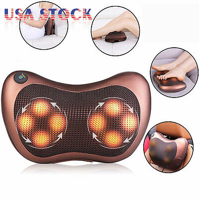Heat Massage Pillow Shiatsu Deep Kneading Neck Shoulder Pain Back Massager Relax