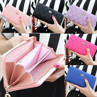 Gift Card Holder (New Fashion Women Purse Zipper Wallet Long Card Holder Cute Gift Crown)