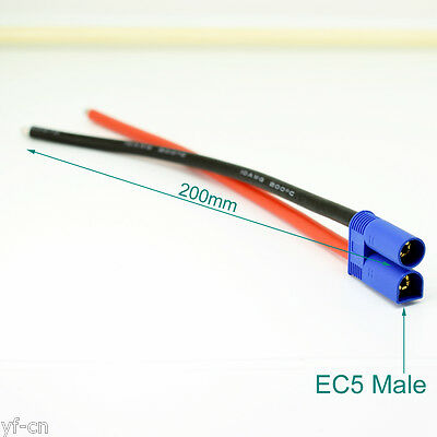 50pcs 20cm 10AWG EC5 Male Plug Battery Connector Silicone Wire DIY Cable R+B